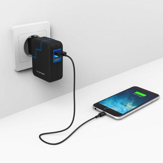 Cargador portátil RavPower® 2 Puertos USB (24W / 4.8A)