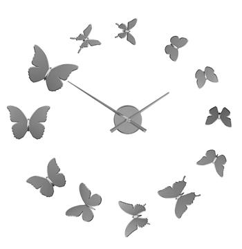 Reloj pared Butterflies adhesivo cromado plástico