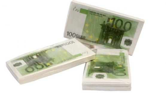 Servilletas de papel - Billetes de 100 euros
