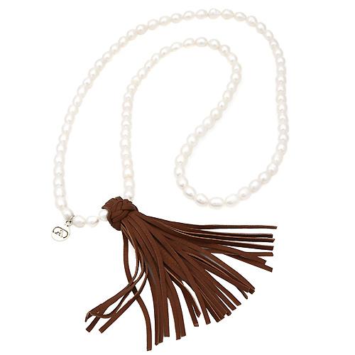 Collar de perlas `Alexandra Plata`