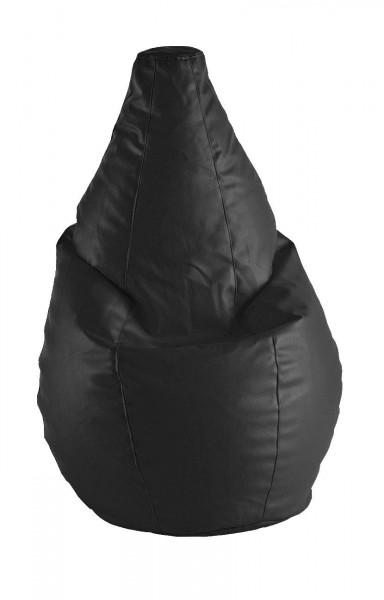 Puff Pera Amoldable - Cuero negro
