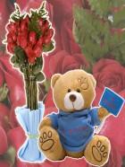 Ramo de rosas y oso