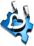 Collar piezza puzle y corazon azul